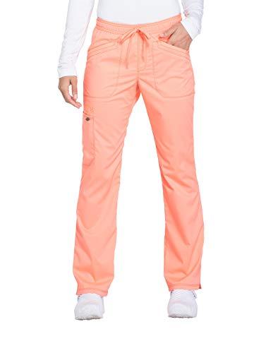 Dickies Essence Women's Straight Leg Drawstring Scrub Pant Large Petite Orange Zest