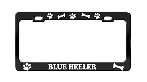 Product Express Blue Heeler Dog Paw Print License Plate Frame Tag Cover & Holder Black