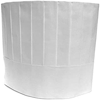 "Disposable Chef Hats, Pleated, Adjustable Band, 9"" Tall, White - 20 pcs per pack"
