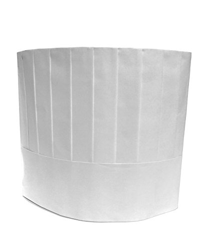 Disposable Paper Chef's Hats, Pleated, Adjustable Band, 10 Inches Tall, White, 20 pcs per Pack -