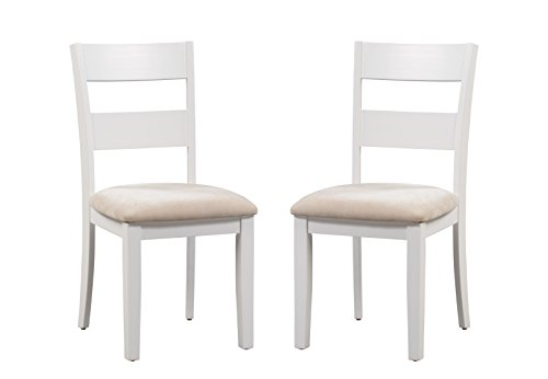 Trithi Furniture Fullerton Solid Wood White Kitchen & Dining Chair with Upholstered Seat, Set of 2