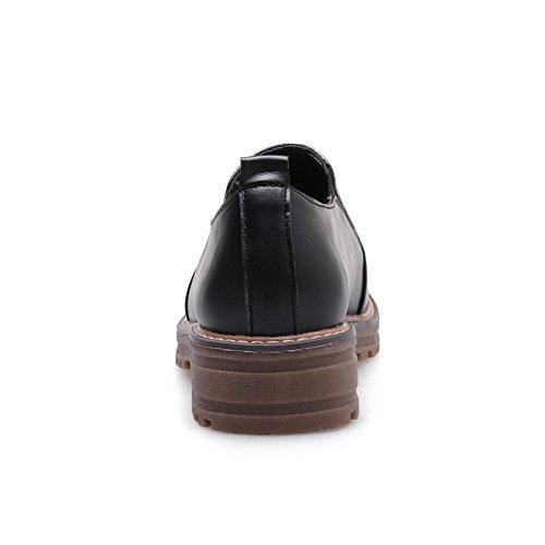 Légeres Rond Talon Couleur Tire Femme à Chaussures Super Bas Unie VogueZone009 Noir Fibre zPqwY