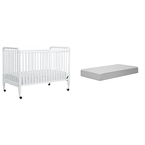 Jenny Lind Stationary Crib with Complete Toddler Mattress with Hypoallergenic Waterproof Cover