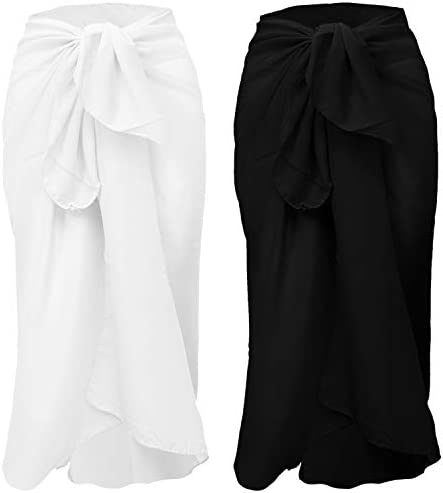 URATOT 2 Pack Women Chiffon Sarong Cover Up Beach Wrap Swimsuit for Vocation
