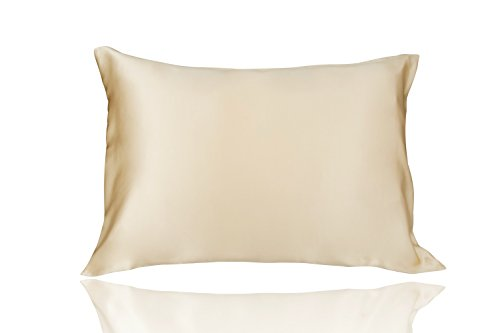 LULUSILK 19 Momme Both Sides 100 Pure Mulberry Silk Pillowcase/Natural Silk Pillow Cover for Hair and Skin Anti Wrinkle Zipper Closure King Size Gold 1pc - Pure Silk Satin Pillowcase