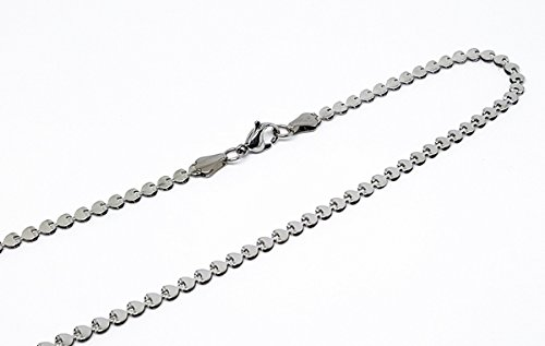 4-3101-f10 316l Stainless Steel Flattened Heart Link Necklace. 3.5mm wide, 18 inches length.