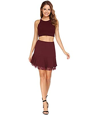 ANGVNS Women's Basic Stretchy Flared Skater Lace Mini Skirt