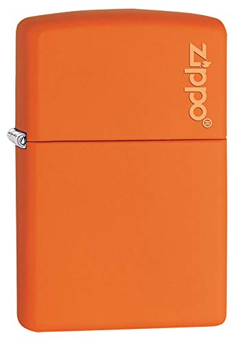 Zippo Orange Matte Lighter W/Logo 231ZL