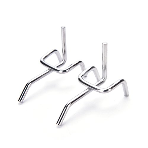 UTL 10Pcs 5cm Peg Board Hooks Board Wall Display Shop Peg Slat Walling Home Hanger Chrome Metal Stainless Steel Pegboard Hooks
