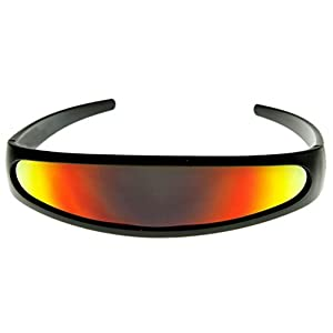 Futuristic Cyclops Shield Cosplay Mirrored Lens Visor Sunglasses (Visor Black Frame/Red Fire)