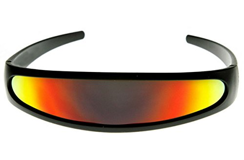 Futuristic Cyclops Shield Cosplay Mirrored Lens Visor Sunglasses (Visor Black Frame/Red Fire) ()