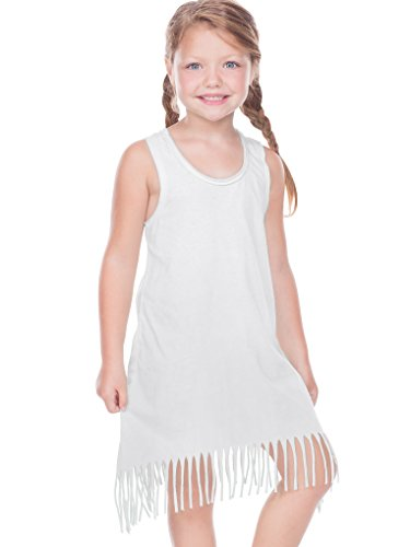 Kavio Girls 3-6X Sheer Jersey Raw Edge Fringe Asymmetrical Tank Dress White 6X - Edge Tank