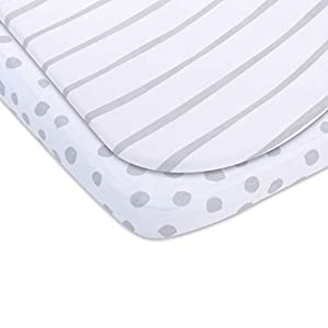 Adrienne Vittadini Bambini Sheet 2 Pack – 100% Jersey Knit Cotton – Unisex for Baby Boy or Baby Girl Stripes & Polka…