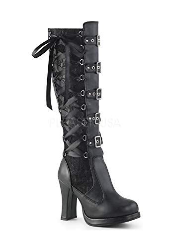 B Pu Vegan Blk lace Combat Women Cryp106 Leather Boots Demonia 5qpZnwRCw