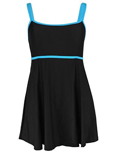Hilor Women's Plus Size One Piece Swimdress Monokinis Swimsuit Black&Blue 20