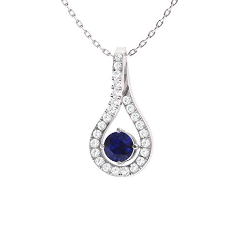 (Diamondere Natural and Certified Blue Sapphire and Diamond Drop Necklace in 14k White Gold | 0.26 Carat SI1-SI2 Quality Pendant with Chain)