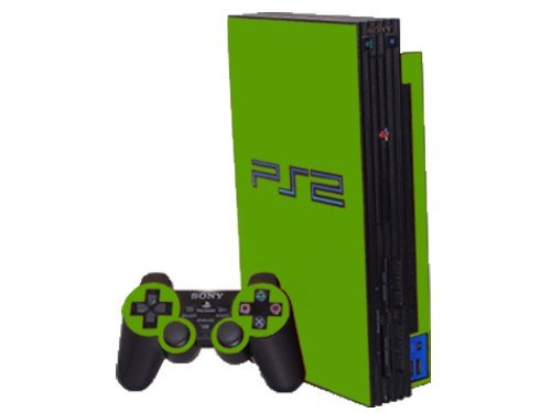 (Sony PlayStation 2 (PS2) Skin - NEW - MONSTER GREEN system skins faceplate decal mod )