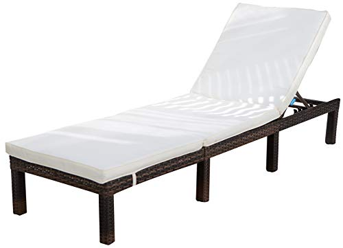COMHO Patio Chaise Lounge Outdoor Adjustable Wicker Lounge Chairs with Cushions (1 Set b)