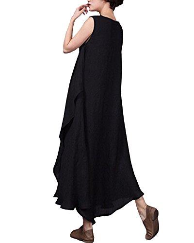 StyleDome Vestido Largo Casual Elegante Fiesta Noche Lino Cuello Redondo sin Mangas para Mujer 1 Negro