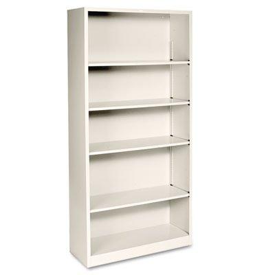 5 Shelf Metal Bookcase (Metal Bookcase, Five-Shelf, 34-1/2w x 12-5/8d x 71h, Putty, Sold as 1 Each)