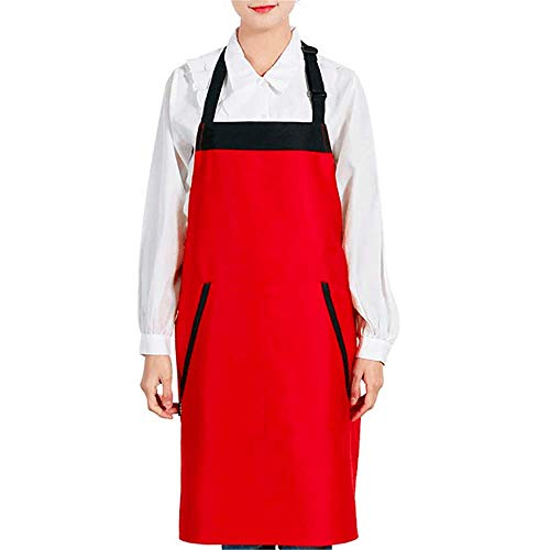 YXDZ (2 Pieces Waterproof and Oil-Proof Apron Supermarket Overalls Korean Fashion Tea Shop Restaurant Kitchen Barbecue Shop Pizza Shop Adult Waist Red