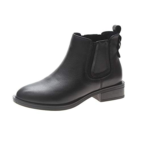Inglaterra Boots Botines Negro Cuero De Otoño Mujer Botas Invierno E Negras Descubiertas Estilo rfgrT
