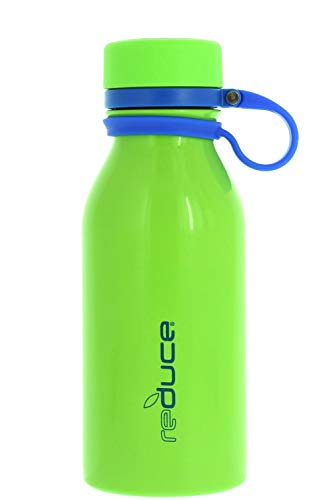 - REDUCE Stainless Steel Vacuum Insulated Hydro Pro Bottle w/Nonslip Rubber Base & Tethered Carrying Loop - BPA Free, Sweat Proof, Great for Children, Travel, Lunchboxes- Lime, 14oz