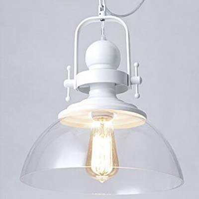 Industrial White Transparent Glass Pendant Light-LITFAD 12\