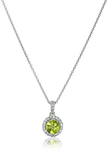 Sterling Silver Peridot Round with Created White Sapphire Halo Pendant Necklace, 18