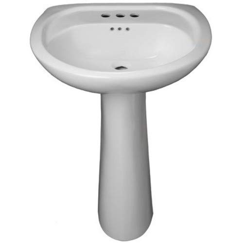 "PROFLO PF5008WH Lisbon Valley 20"" Vitreous China Pedestal Bathroom Sink with Overflow and 3 Faucet Holes on 8"" Centers"