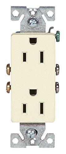 Cooper Decorator Duplex Receptacle - EATON 1107LA 15-Amp 2-Pole 3-Wire 125-Volts Decorator Duplex Receptacle, Light Almond