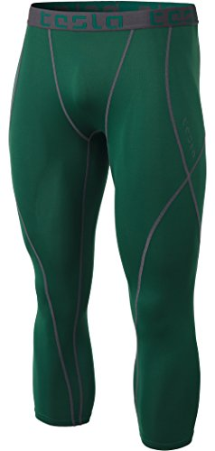 TSLA Men's Compression 3/4 Capri Pants Baselayer Cool Dry Sports Running Yoga Tights, Atheltic(muc18) - Green, 2X-Large