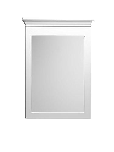 (Ronbow Essentials Bryant 24 Inch W x 33 Inch H Bathroom Transitional Solid Wood Framed Bathroom Mirror in White Finish 603324-W01)