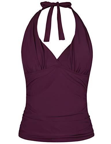 Hilor Women's Plunging V Neck Halter Swim Tops Shirred Tankini Top New Version Burgundy - Top Wire
