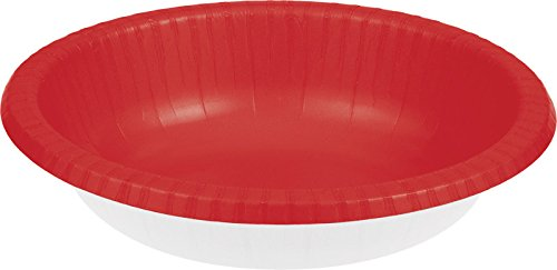 Creative Converting 173548 Touch of Color Paper Bowl, 20 oz, Classic Red -