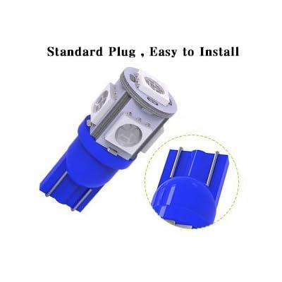 YITAMOTOR 194 T10 LED Bulb Blue, 168 2825 w5w LED Interior Car Lights Bulbs for Dash Light License Plate Lights Door Courtesy Light, 12 Volt, 10-Pack: Automotive
