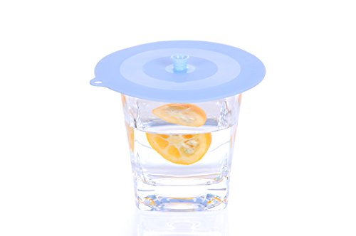 Migecon Anti-dust Silicone Drink Cup Lids [Set of 3](blue)