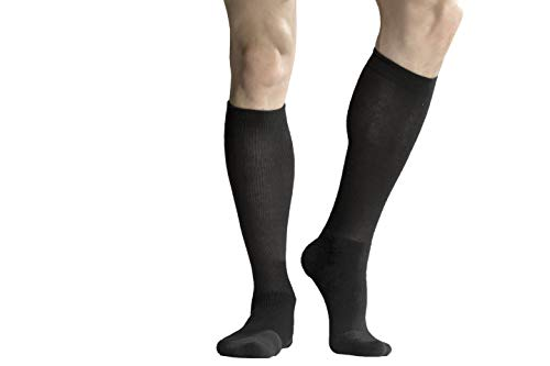 +MD Coolmax Thermal Compression Socks (15-20mmHg) for Women & Men - Knee High Support Stockings for Traveller, Nurses, Swelling Black 10-13