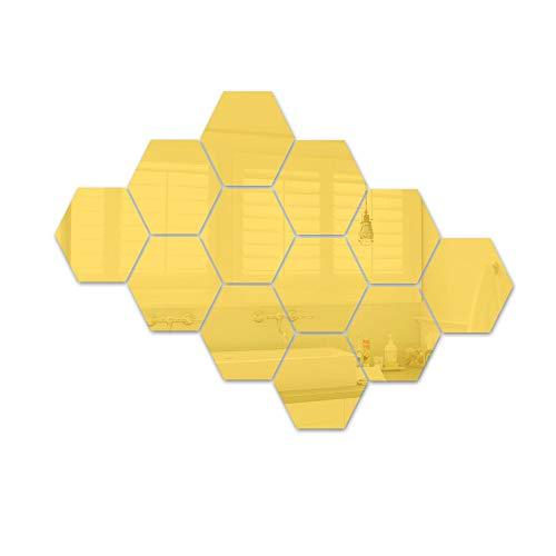 ATFUNSHOP Hexagon Mirror Wall Stickers 12 PCS DIY Modern Decors for Living Room Kitchen Hallway Decoration Golden ()