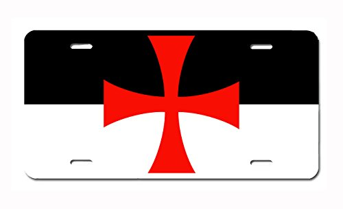 Genealogy Images History (Knights Templar Battle Flag License Plate by Carpe Diem Designs, Made in the U.S.A.)