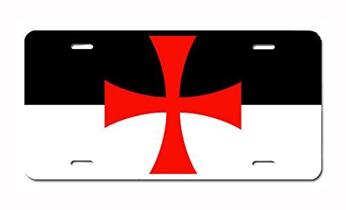 Him Design (Knights Templar Battle Flag License Plate by Carpe Diem Designs, Made in the U.S.A.)
