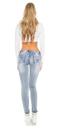 Skinny PuSH UP Jeans pinke Knöpfe, blau