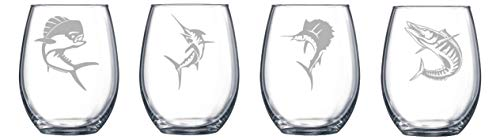 Etched Pilsner - Set of Four Salt Water Game Fish Etched Glass Choice of Pilsner, Beer Mug, Pub, Wine Glass, Rocks, 1 each of a Moose, Bear, Wolf, Deer Etched