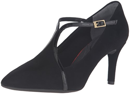 Flight Women Shoes (Rockport Women's Total Motion 75mm T-Strap Dress Pump, Black Kid Suede, 7 W (C))
