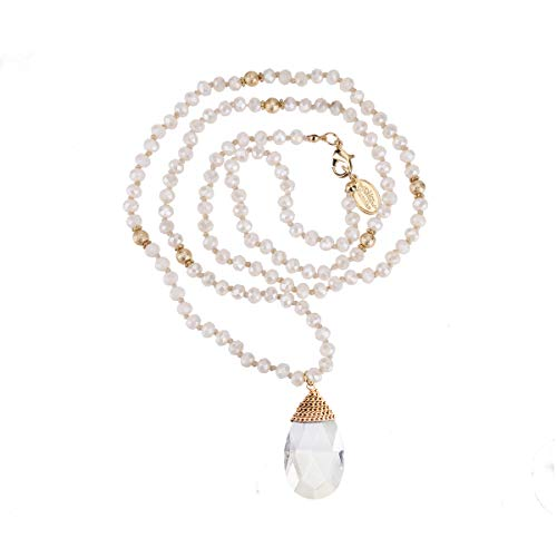 Niumike Crystal Beads Long Necklaces with Statement Transparent Pendant,100% Hand Braided Necklace,Free Flannel Bag ()