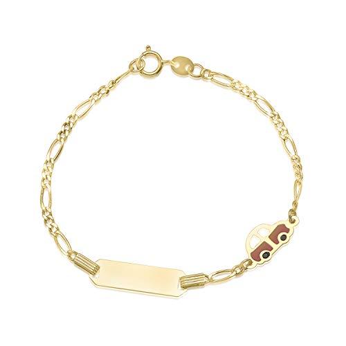 (Kids ID Bracelet 14K Yellow Gold for Boys Figaro Chain Car Italy UNICORNJ 5.5