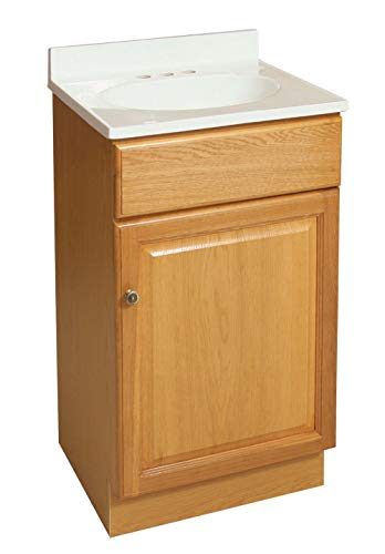Design House 531970 18-Inch by 16.25-Inch Claremont Ready-To-Assemble 1 Door Vanity, Honey Oak