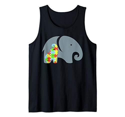 Autism Awareness Elephant Art | Puzzle Piece Gift Tee Tank - Puzzle Tank Piece