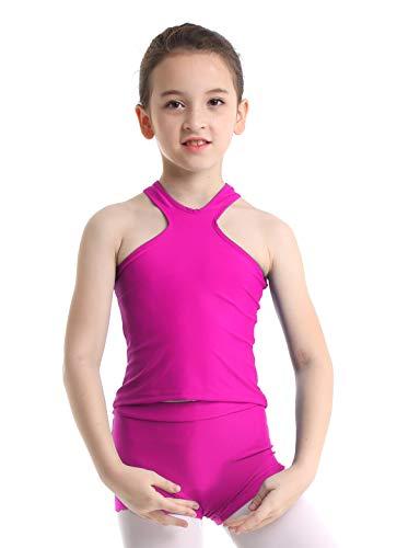 inlzdz Kids Girls 2PCS Tankini Sleeveless Racer Back Top with Booty Shorts Gymnastics Leotard Dancewear Sports Outfit Rose Red 6