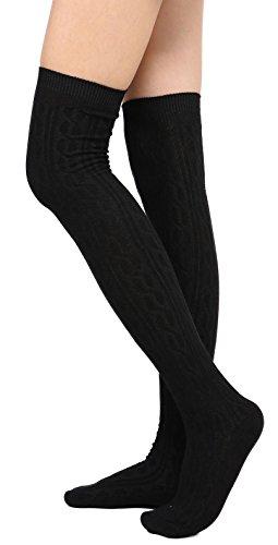 Womens Winter Kabel stricken über Knee High Tigh hohe Socken 1-3 Paar Single Schwarz